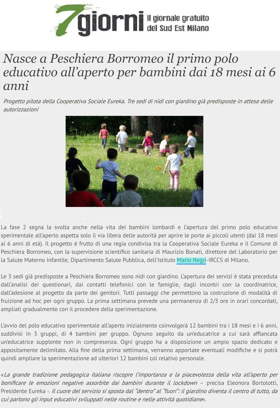 Nasce a Peschiera Borromeo il primo polo educativo all'aperto per bambini dai 18 mesi ai 6 anni