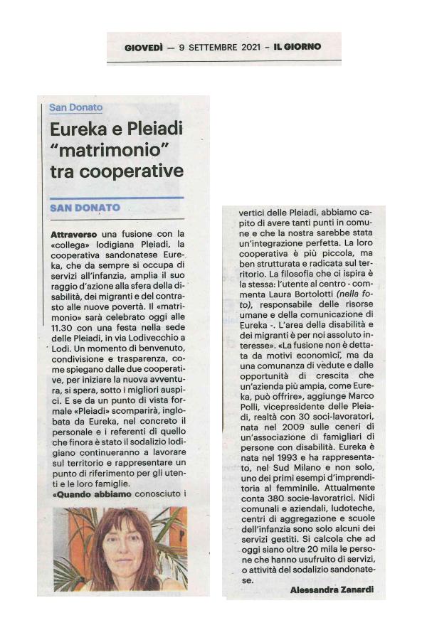 Eureka e Pleiadi matrimonio tra cooperative
